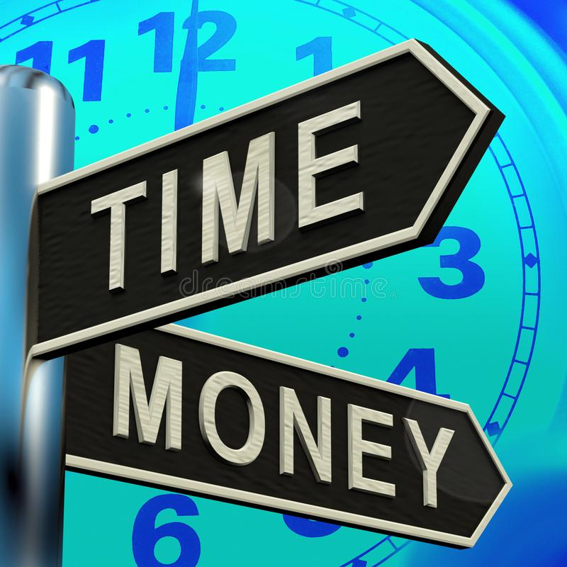 Time Money Signpost Showing Hours Are More Important 3d Illustration. Time Money Signpost Shows Hours Are More Important 3d Illustration vector illustration