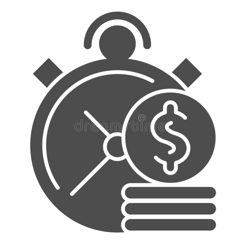 Time is money solid icon. Clock and coins vector illustration isolated on white. Investment time glyph style design. Designed for web and app. Eps 10 stock illustration