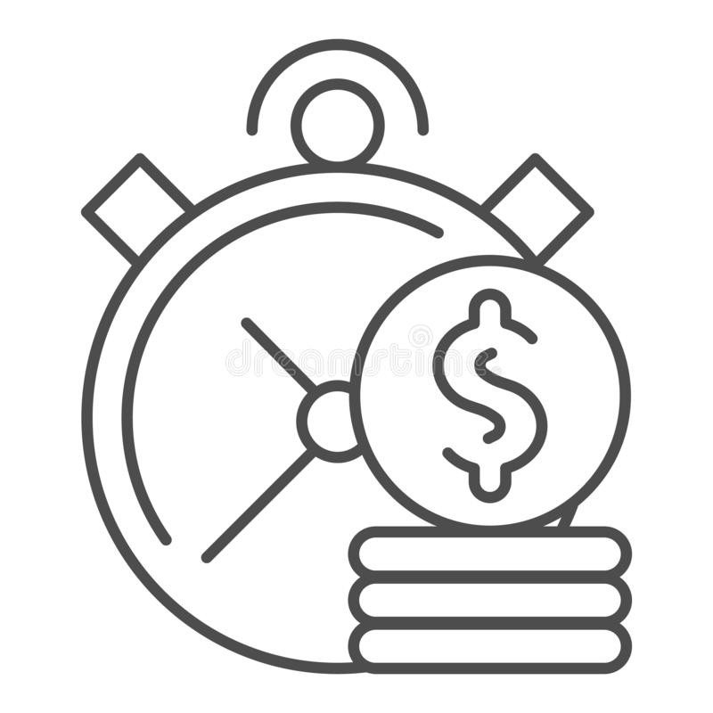 Time is money thin line icon. Clock and coins vector illustration isolated on white. Investment time outline style. Design, designed for web and app. Eps 10 royalty free illustration