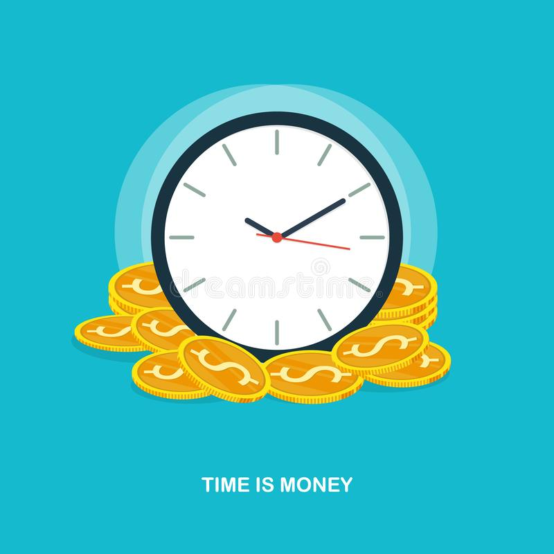 Time is money,time management,business success coin pile concept flat vector vector illustration