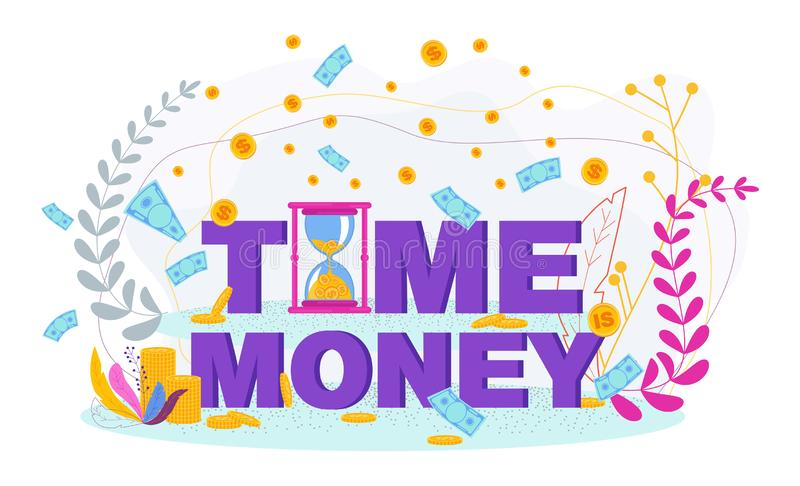 Time is money vector flat concept with hourglass. Planning and time management system for success and prosperity of business and personal growth stock illustration