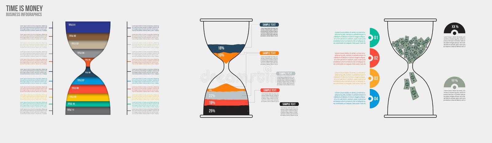 Time is money. Vector hourglass infographic template. Design business concept for presentation, graph and diagram. Options, parts, steps or processes. Vector royalty free illustration