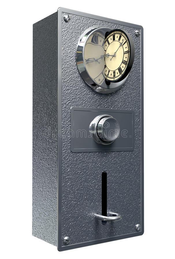 Time Is Money Vintage Coin Slot. A closeup of a coin slot mechanism with a coin shaped clock face being inserted in the slot on an isolated background royalty free illustration