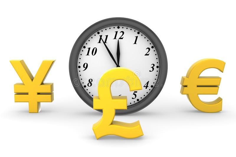 Time and Money. White background, 3d render vector illustration