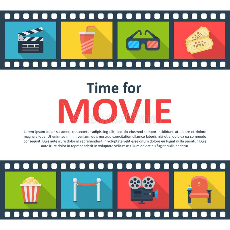Time for movie copyspace poster. Outdoor or indoor film screening, online video entertainment. Vector flat style cartoon illustration isolated on white stock illustration
