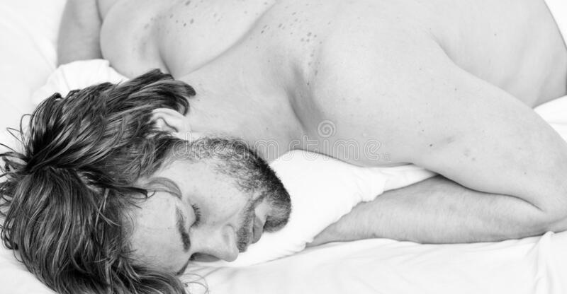 Time for nap. Sleep and relax concept. Man handsome guy sleep. Sleep is vital to your physical and mental health royalty free stock photo