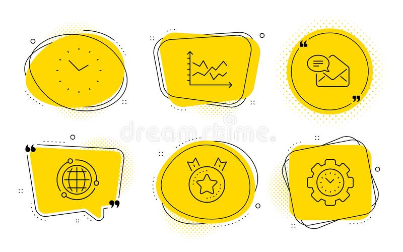 Time, New mail and Diagram chart icons set. Globe, Ranking star and Time management signs. Vector. Globe, Ranking star and Time management signs. Chat bubbles royalty free illustration