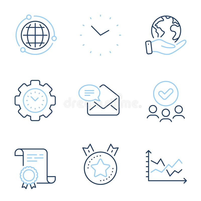 Time Management Line Icons. Alarm Clock, Timer Plan And