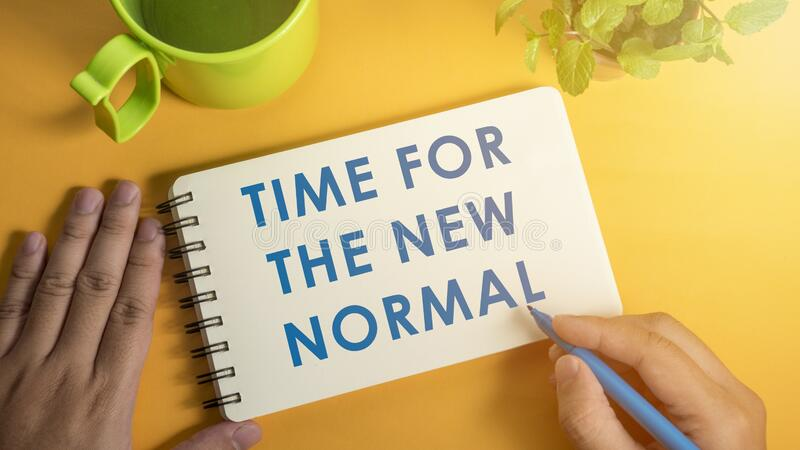 Time for the new normal. Big change after covid-19 pandemic with social distancing royalty free stock image