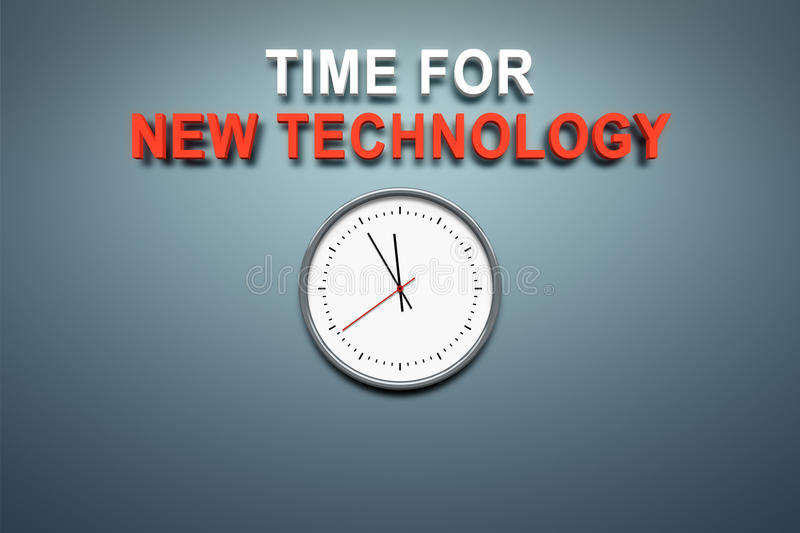 Time for new technology at the wall. A wall with the words time for new technology vector illustration