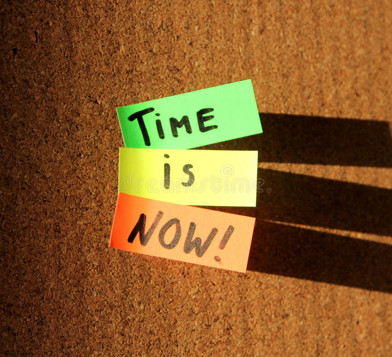 Time is now!. Sticky notes forming text - time is now royalty free stock images