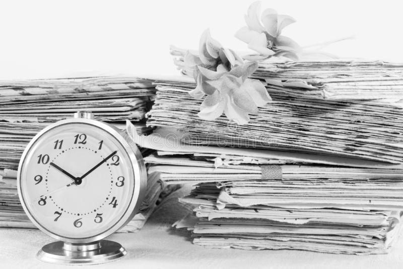 Time and old paper postal mails stock images