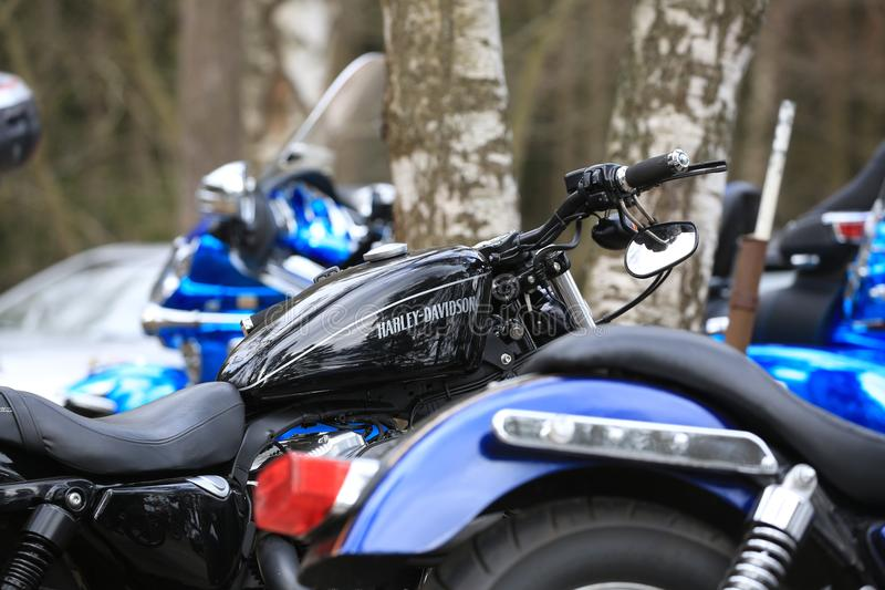 Motorcycle Harley Davidson Sportster 1200 black among other bikes outdoor. Close-up. Time of opening of motoseason 2018. Komarovo. Resort area of the Saint stock photos