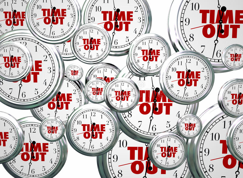Time Out Break Pause Intermission Flying Clocks Words. 3d Illustration stock illustration