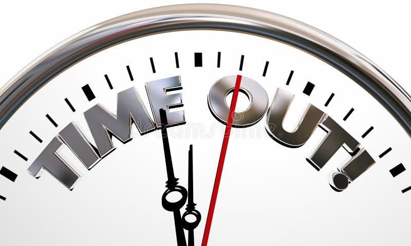 Time Out Pause Break Intermission Rest Clock Words. 3d Illustration vector illustration