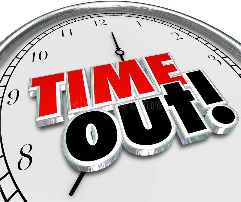 Time Out Words Clock Break Pause Stop Action Stock ...