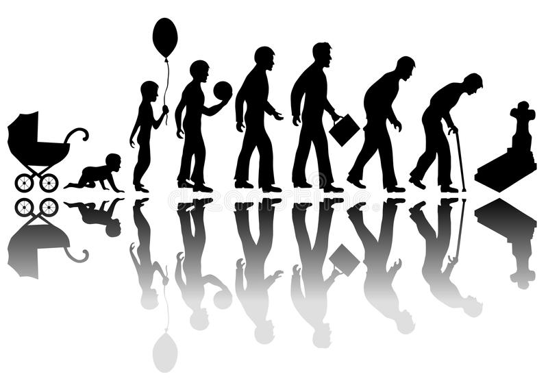 Time passing concept. Time passing man concept. Illustration of life from birth to death stock illustration