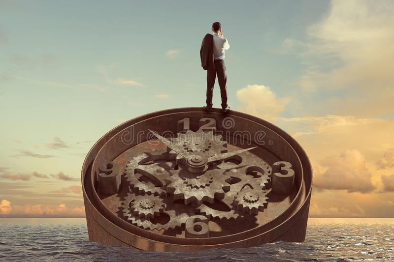 When time is passing . Mixed media. Time concept image with buinessman standing on old clock mechanism against nature background stock photos