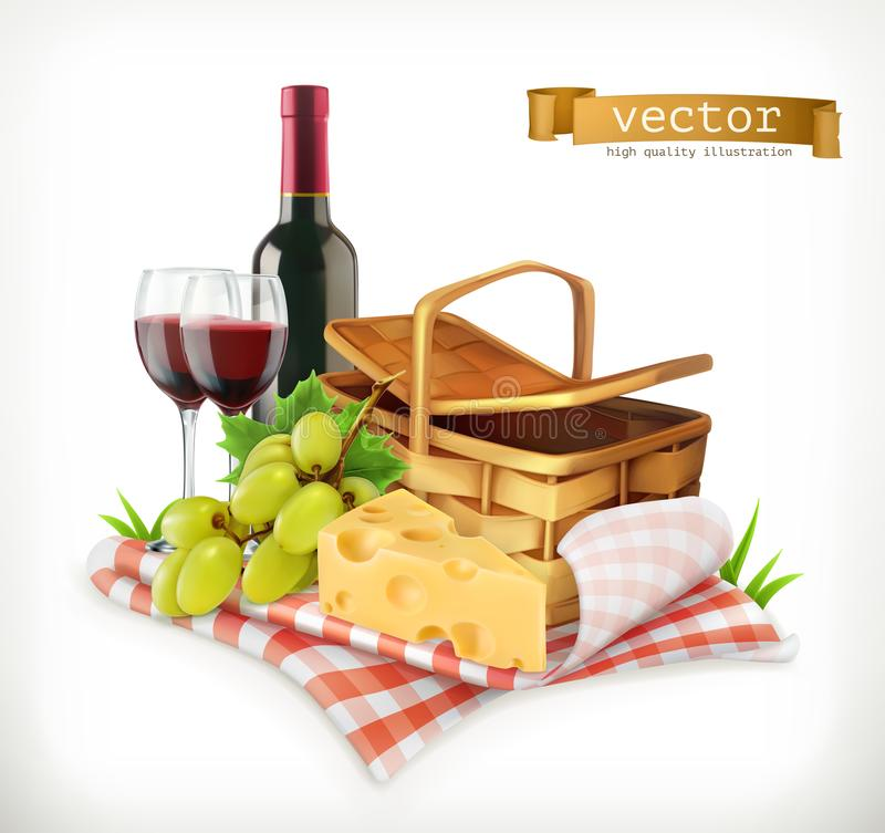 Time for a picnic, a tablecloth and picnic basket, wine glasses, cheese and grapes, vector illustratio. Time for a picnic, nature, outdoor recreation, a royalty free illustration