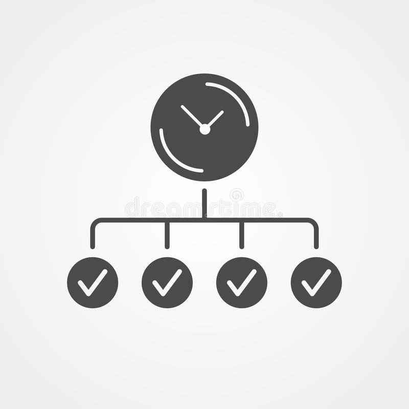 Time planing vector icon sign symbol. Time planing icon vector, filled flat sign, solid pictogram isolated on white. Symbol, logo illustration stock illustration