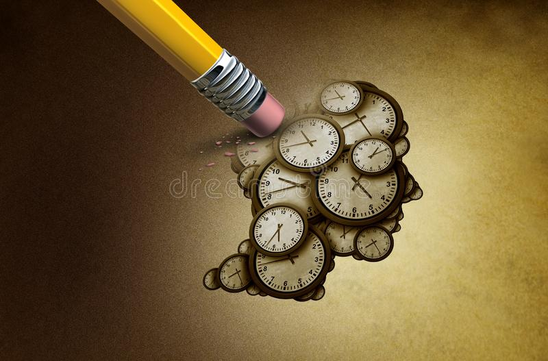 Time Planning Loss. And losing memory concept as a group of clock objects shaped as a human head as a business punctuality and appointment stress metaphor or vector illustration