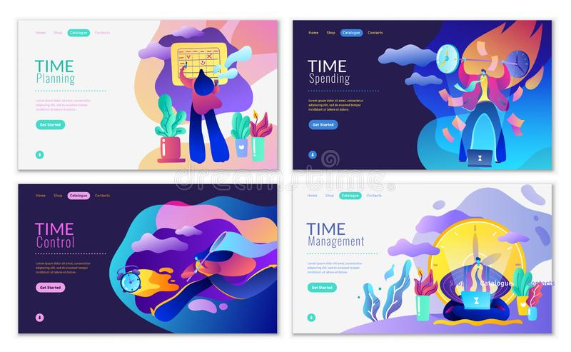 Four banners, pages of the site, on time management and control vector illustration
