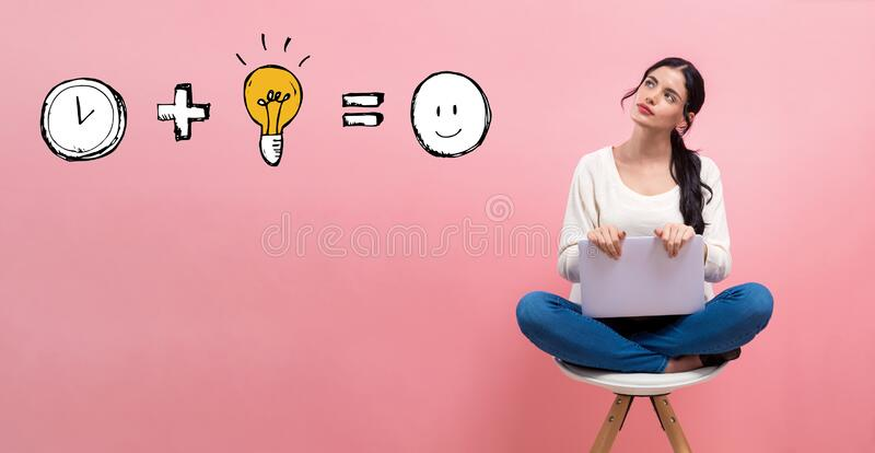 Time plus idea equals happy with woman using a laptop royalty free stock image