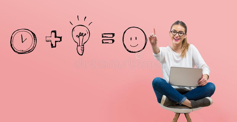 Time plus idea equals happy with young woman royalty free stock images