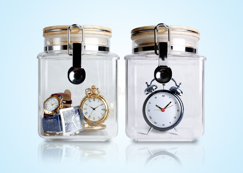 Time preserved in containers stock photography