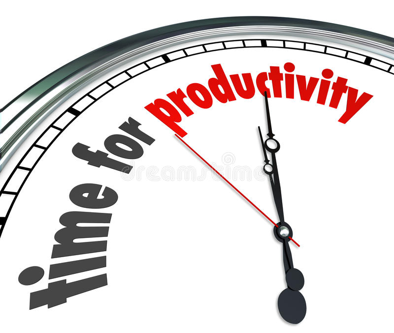Time for Productivity Clock Efficiency Working Get Results Now. Time for Productivity words on a clock face to illustrate efficiency and working together to stock illustration