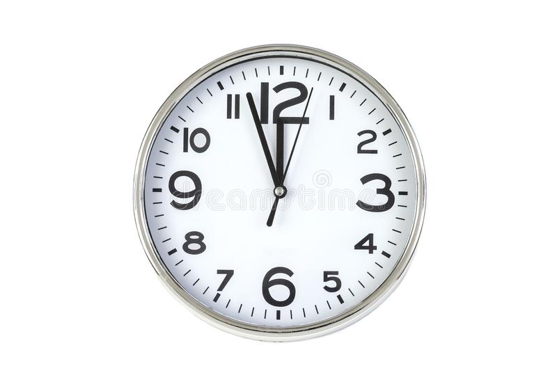Time punctual second minute hour. Large clock on white The concept of time. Time punctual second minute hour. Large clock on white background wall. The concept royalty free stock images