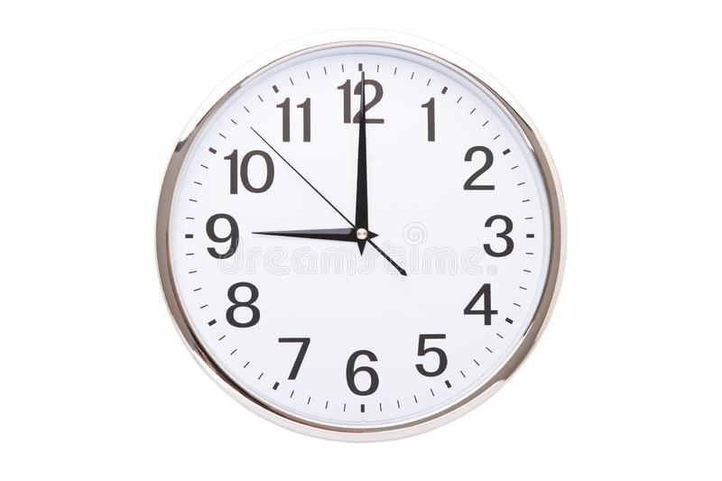 Time punctual second minute hour. Large wall clock on white background. The concept of time royalty free stock photography
