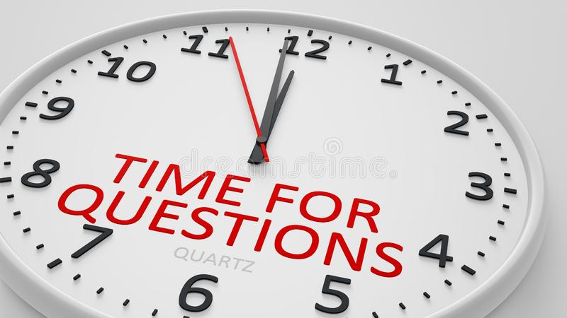 Time for questions modern bright clock style. 3d illustration stock illustration