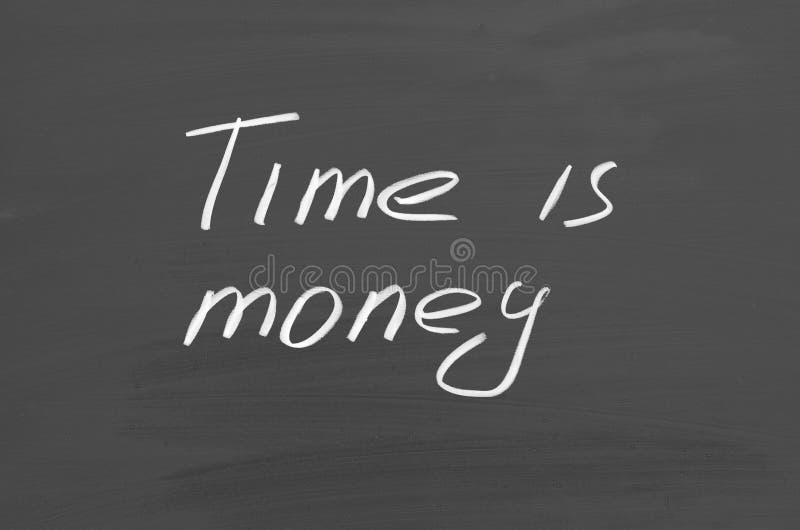 Time ?r pengar Text p? den svart tavlan royaltyfri bild