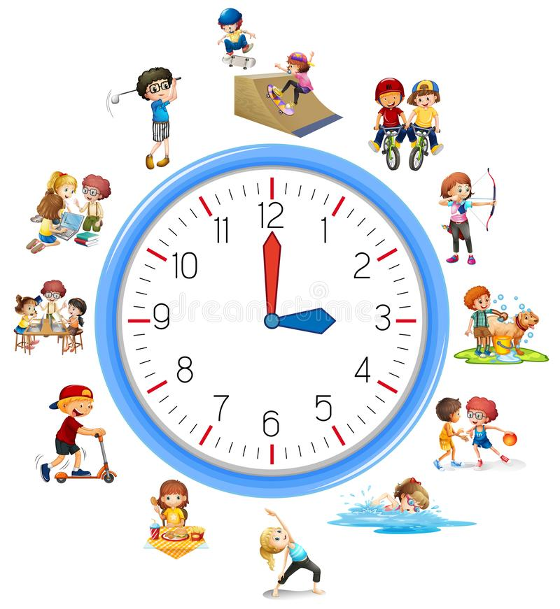 Time relate with activity. Illustration royalty free illustration