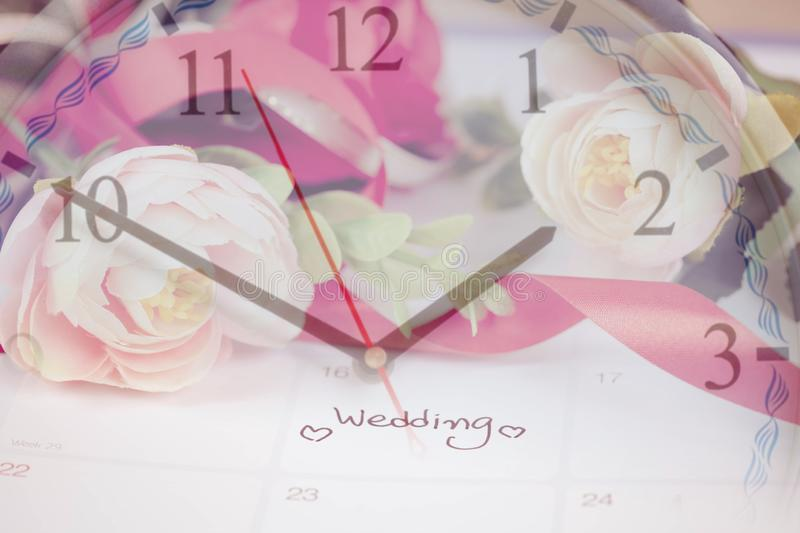 Time for Reminder Wedding day in calendar planning and fountain pen with color. Tone stock image