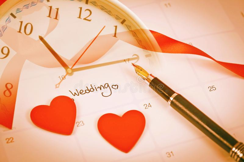 Time for Reminder Wedding day in calendar planning and fountain pen with color. Tone royalty free stock photos