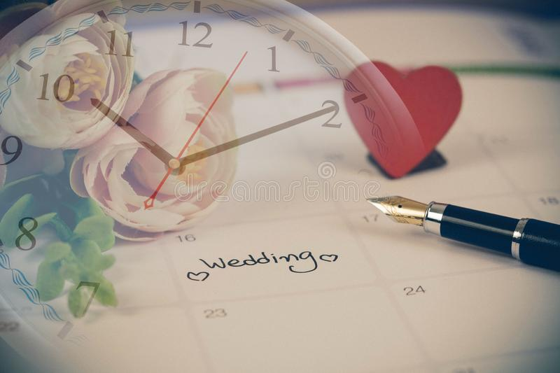 Time for Reminder Wedding day in calendar planning and fountain pen. With color tone royalty free stock photo