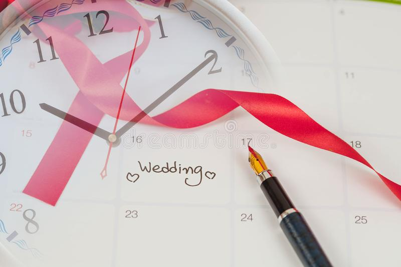 Time for Reminder Wedding day in calendar planning and fountain pen. With color tone royalty free stock photography