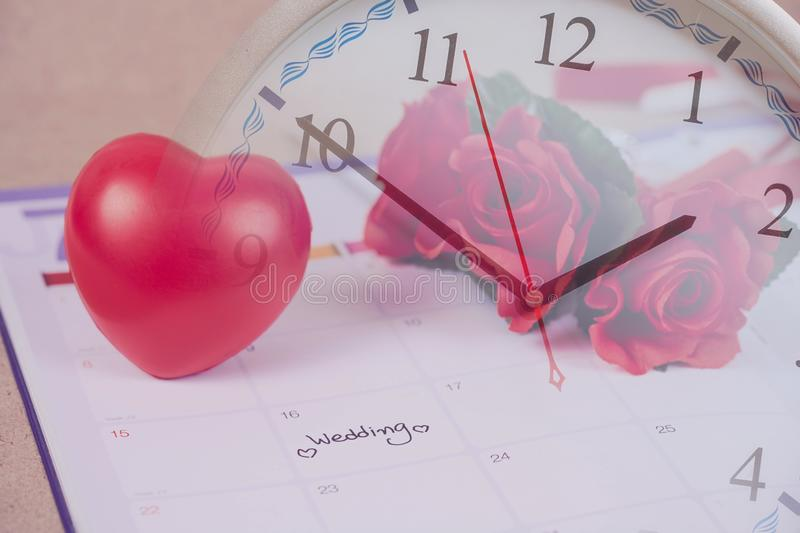 Time for Reminder Wedding day in calendar planning and heart sign. With color tone royalty free stock image
