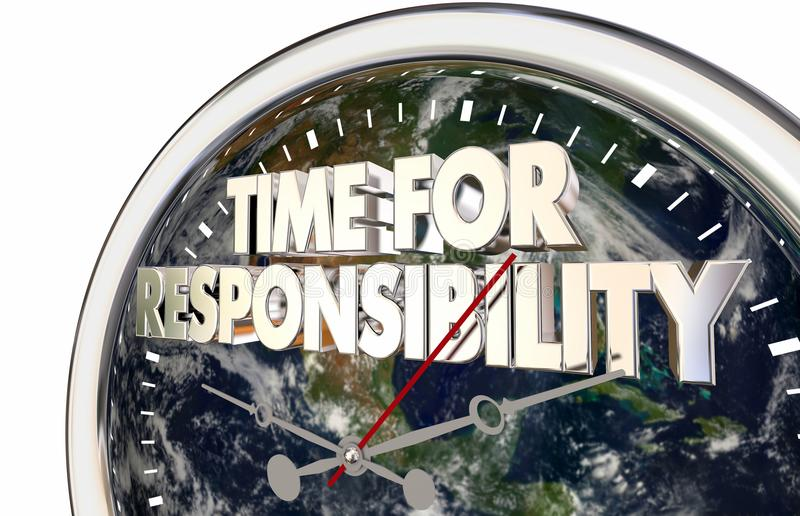 Time For Responsibility Clock Environment Activism 3d Illustration. Elements of this image furnished by NASA royalty free illustration