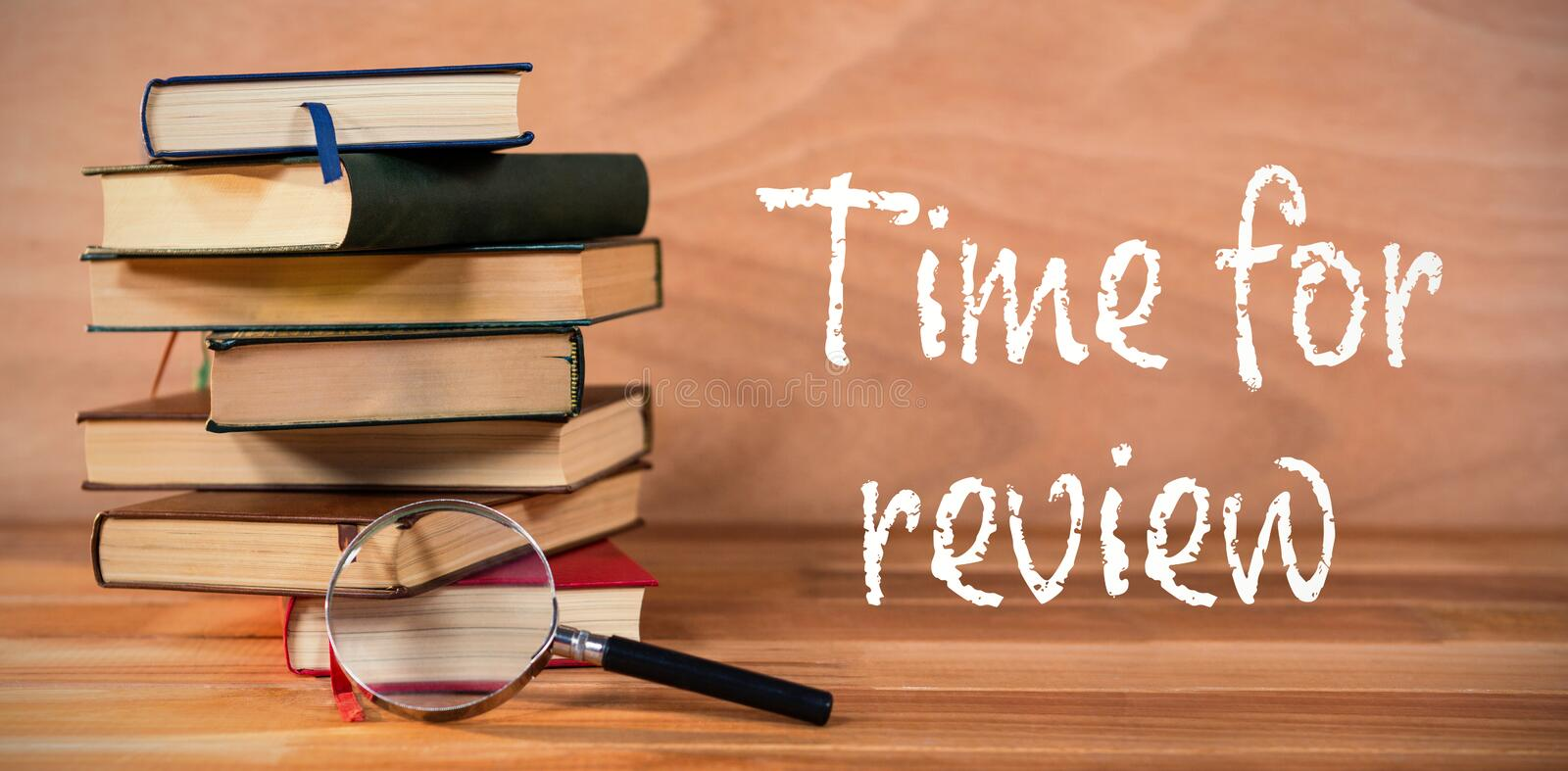 Composite image of time for review text on white background vector illustration