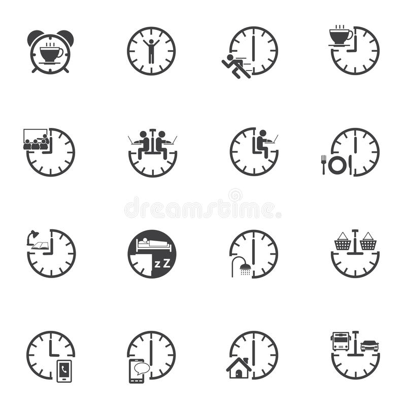 Time with daily routine icon set. Vector icons royalty free illustration