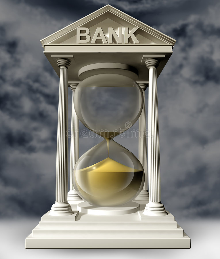Time is running out for banks. Illustration of a bank in the form of a symbolic hourglass with the sand running out royalty free illustration
