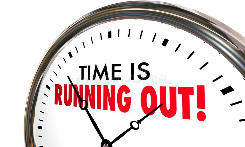 Time is Running Out Clock Deadline Ending Soon. 3d Illustration royalty free illustration
