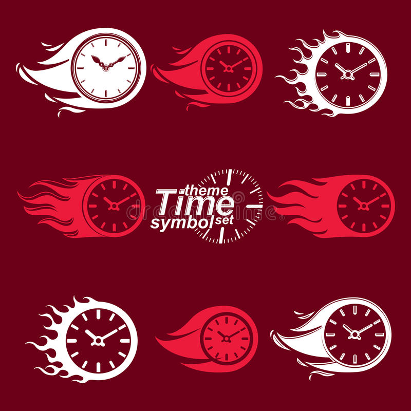 Time is running out concept, vector timers with burning flame. Eps 8 clear vector illustrations. Set of deadline theme stylized illustrations stock illustration