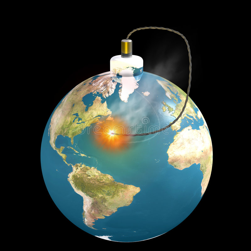 Time is running out for the earth. Illustration of the earth as a bomb with a lit fuse symbolizing that time is running out vector illustration
