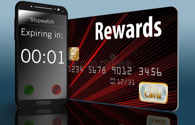 Time is running out on expiring credit card rewards and a time on a cell phone next to a card makes this point. Illustration vector illustration