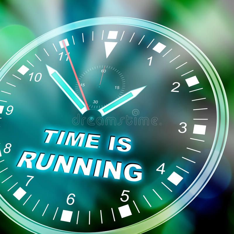 Time is running out. Illustration of a watch with text TIME IS RUNNING OUT vector illustration