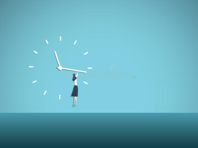 Time`s up movement vector illustration concept with woman hanging on clock face. Symbol of progress, equal opportunities vector illustration